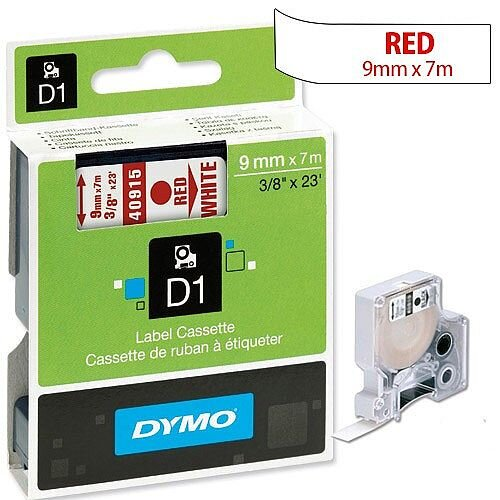Dymo D1 Tape 40915 9mm x 7m Red on White S0720700