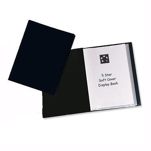 5 Star A4 Black Display Book 20 Pockets Lightweight
