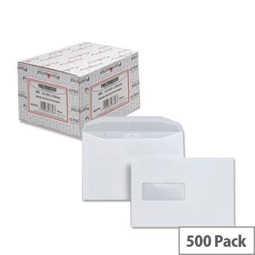 Postmaster C5 White Envelopes Wallet Gummed High Window 90gsm Pack 500