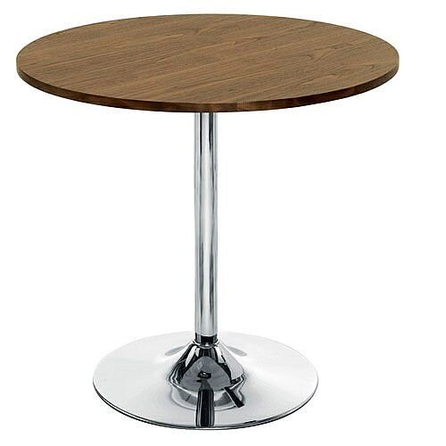 Ellipse Trumpet Base Circular Cafe Table Walnut