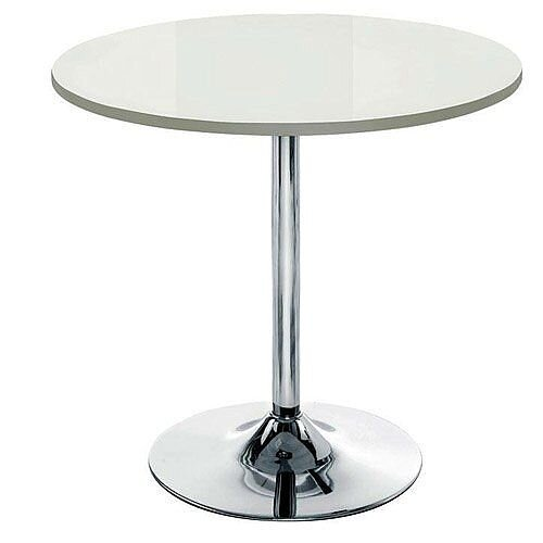 Ellipse Trumpet Base Circular Cafe Table White