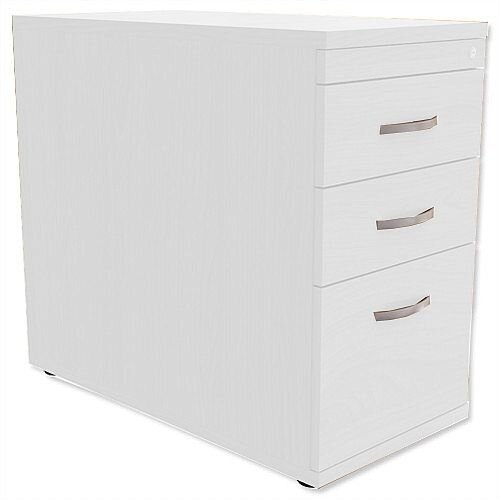 Filing Pedestal Desk-High 3-Drawer 800mm Deep White Kito