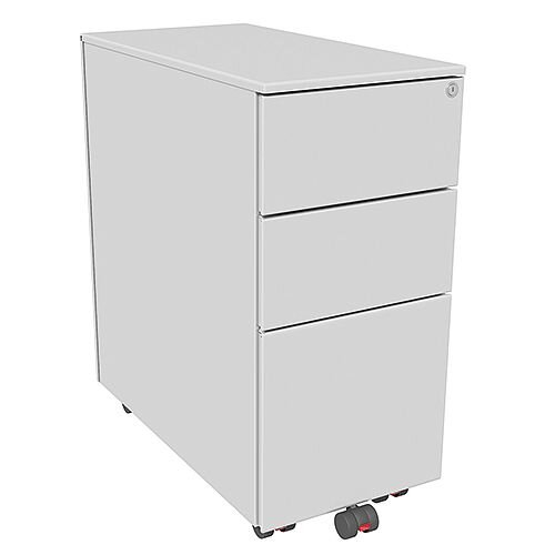 Slimline Mobile Steel Pedestal With 2 Stationery &1 Filing Drawer 300mm Wide Silver Kito X-Series