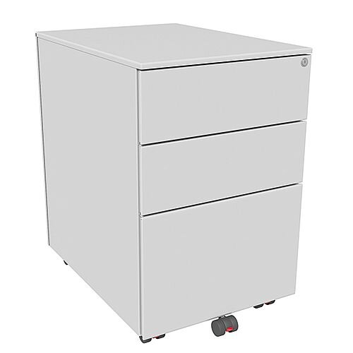 Mobile Steel Pedestal With 2 Stationery & 1 Filing Drawer 390mm Wide Silver Kito X-Series