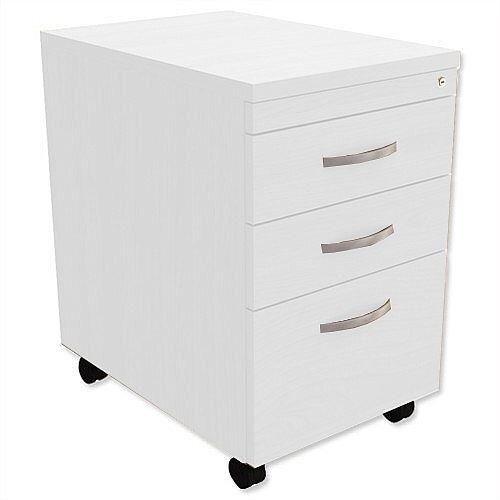 Filing Pedestal Mobile Tall Under-Desk 3-Drawer White Kito