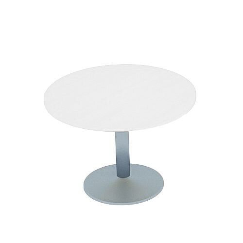 Kito White Meeting Room Round Table Silver Trumpet Base Dia800xH725mm