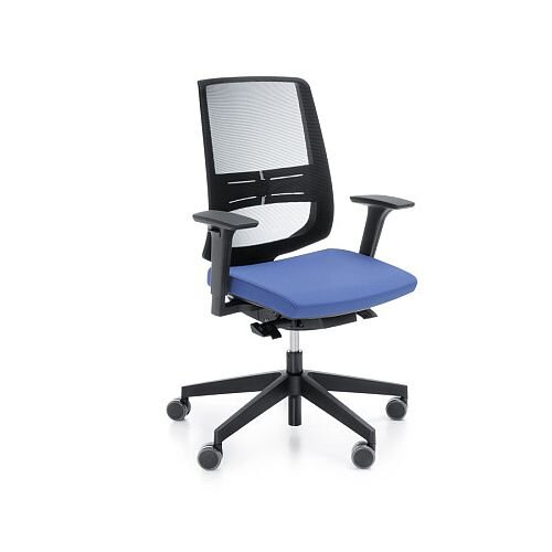 LightUp Modern Design Mesh Office Chair With Lumbar Support &Adjustable Arms Blue Fabric Seat
