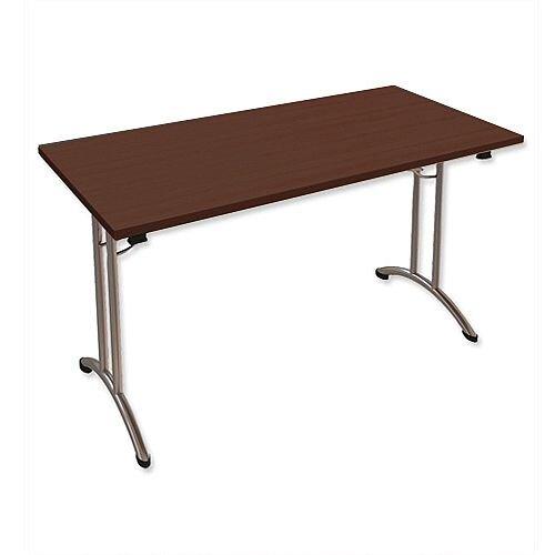 Folding Table Rectangular Chrome Legs 25mm Top W1200xD750xH725mm Dark Walnut Morph Fold