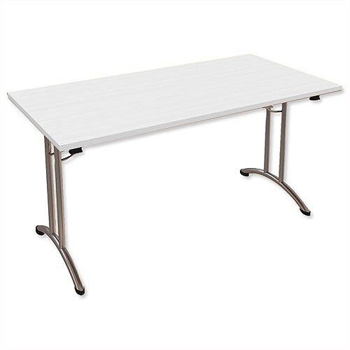 Folding Table Rectangular Chrome Legs 25mm Top W1500xD750xH725mm White Morph Fold