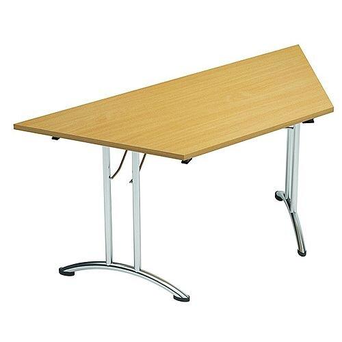 Folding Table Trapezoidal Chrome Legs 25mm Top W1500xD750xH725mm Urban Oak Morph Fold