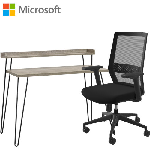 Microsoft Home Office Desk &Chair Bundle - Distressed Grey