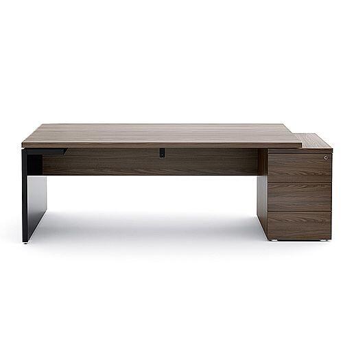 Mito Executive Desk With Right Hand Pedestal 2020mm Dark Sycamore &Black