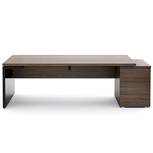 Mito Executive Desk With Right Hand Pedestal 2220mm Dark Sycamore &Black