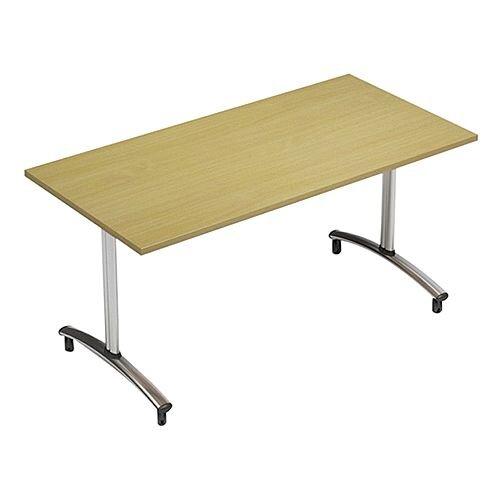 1200mm Wide Rectangular Flip Top Table On Wheels Urban Oak Morph Tilt