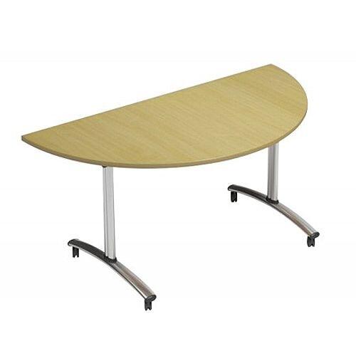 1500mm Semi Circular Flip Top Table On Wheels Urban Oak Morph Tilt