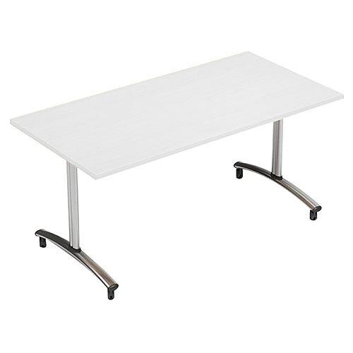 1500mm Wide Rectangular Flip Top Table On Wheels White Morph Tilt