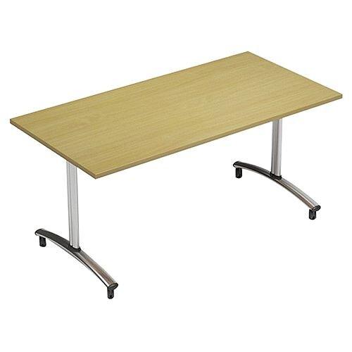 1500mm Wide Rectangular Flip Top Table On Wheels Urban Oak Morph Tilt