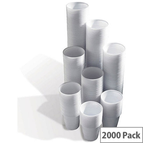 MyCafe Disposable Squat Plastic Vending Drink Cups 7oz/200ml White [Pack of 2000] 5570