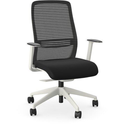 NV Posture Office Chair with Contoured Mesh Back and Adjustable Lumbar Support White Frame Black Seat