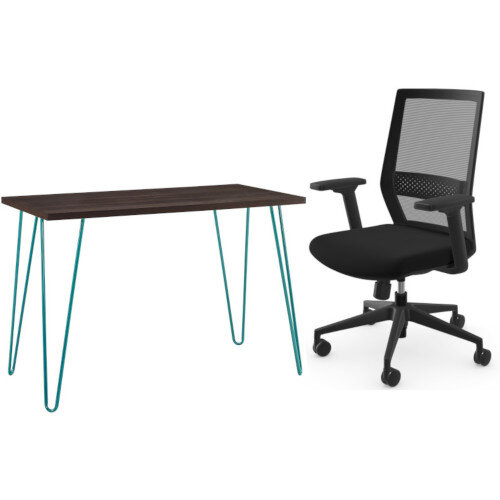 Owen Retro Home Office Desk - Espresso with Teal Frame &Mesh Me Posture Office Chair with Mesh Back Adjustable Lumbar Support Black