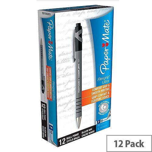 Paper Mate Flexgrip Retractable Ballpoint Pen Black Pack 12