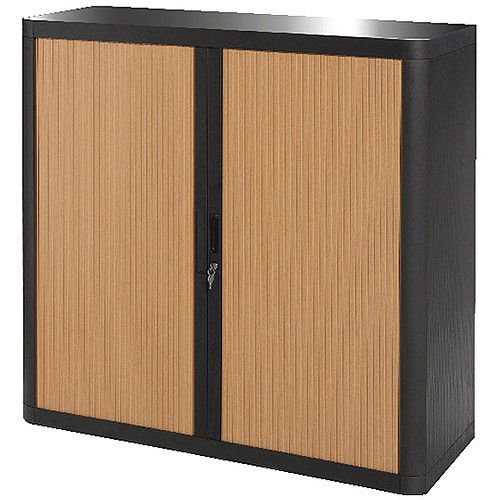 Paperflow Easy Office Cupboard 1 Metre Black/Beech with 2 Shelves EE000022