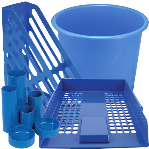 Q-Connect Desk Tidy Blue Bundle Set - Desk Tidy &Magazine Rack &Waste Bin &Letter Tray Pk 2 &Letter Tray Risers