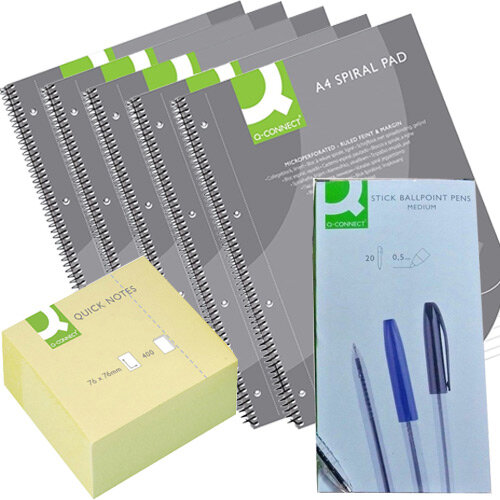 Q-Connect Home Office Stationery Bundle - Sticky Notes &Pens Pk 50 &Notepads Pk 5