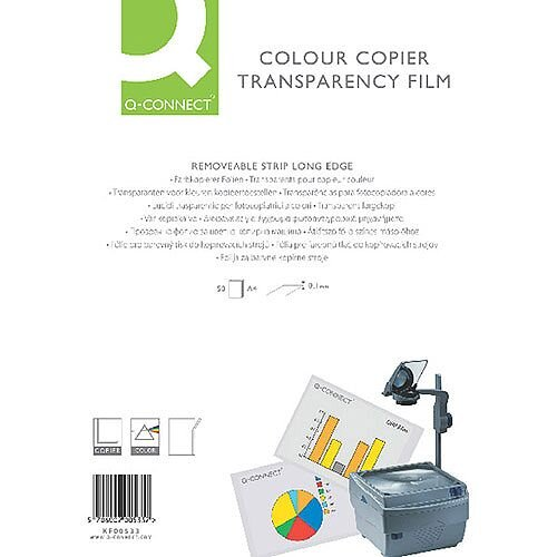 Q-Connect Colour Laser Copier OHP Transparency Film  A4 Pack of 50 KF00533
