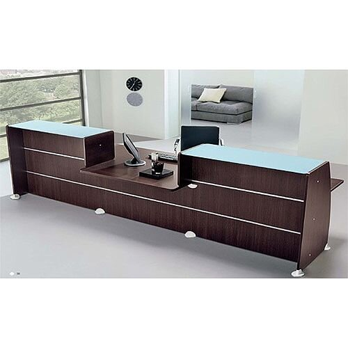 Straight Reception Desk With Low Level Section Wenge Glass Counter Top RD100