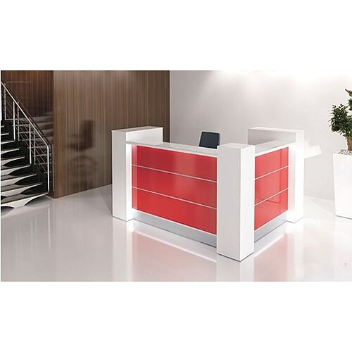 Valde Small L-Shaped Reception Unit Modern High Gloss White Red Illuminated Finish RD27
