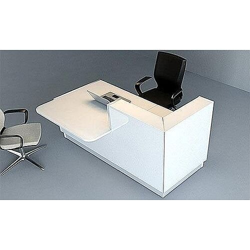 Linea Minimalist Design Small Reception Desk Gloss White RD49