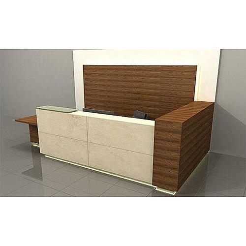 L-Shaped Wooden Reception Desk Marbled Front RD55