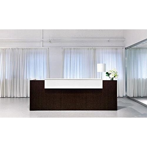 Dark Wood Finish Straight Design Reception Desk White  Counter Top Fact RD69