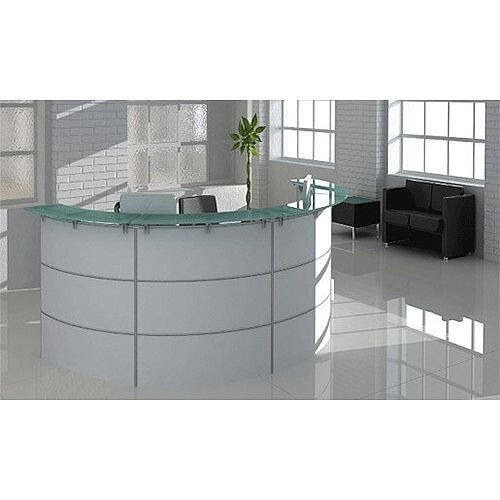 Circular White Tempered Glass Reception Desk RD82