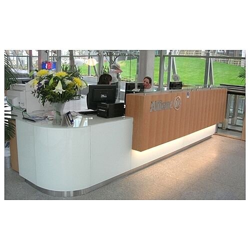 L-Shaped Reception Desk White Wooden RD93