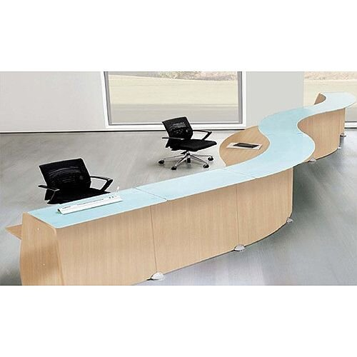 Curved Reception Desk Oak Finish Glass Counter Top Quadrifoglio Glass RD94