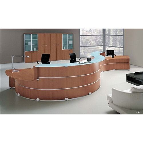 Waved Shape Reception Desk Unit Cherry Glass Counter Top Low Level Section RD99