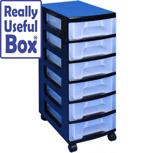 Really Useful Mobile Storage Tower 6x7 Liter Drawers Black &Transparent. Suitable For Offices, Homes, Art Supplies, Warehouses, Hospitals &More.