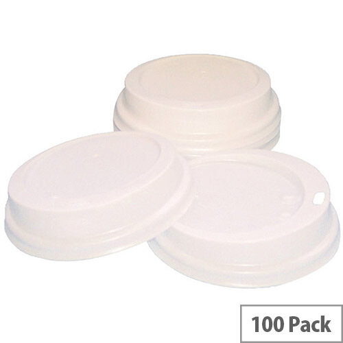 Caterpack Sip Disposable Lids For Paper Cups 12oz-16oz/350-450ml White [Pack of 100] RY01163