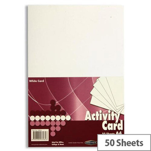 Premier A4 160gsm White Activity Card (Pack of 50 Sheets)