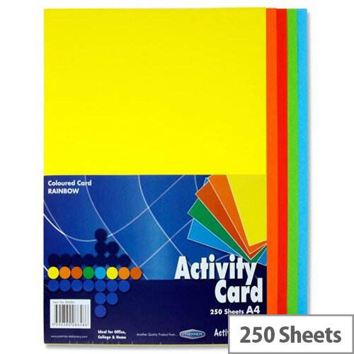 Premier Assorted Rainbow Colours A4 Activity Card Paper 160g Pack of 250 Sheets