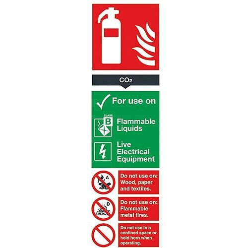 Safety Sign Carbon Dioxide Fire Extinguisher 280x90mm PVC