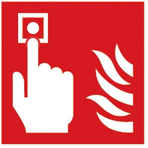Safety Sign Fire Alarm 100x100mm Self-Adhesive Vinyl