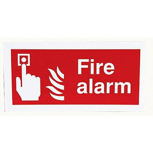 Safety Sign Fire Alarm 100x200mm Self-Adhesive Vinyl