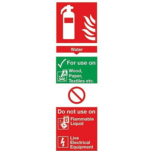 Safety Sign Fire Extinguisher Water 280x90mm PVC