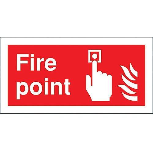 Safety Sign Fire Point 100x200mm Self-Adhesive Vinyl