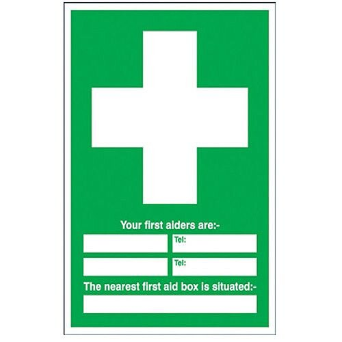 First Aiders/First Aid Box Location Safety Sign 600x450mm PVC