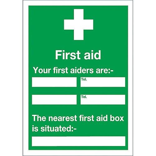 First Aiders/First Aid Box Location Safety Sign 600x450mm Self-Adhesive Vinyl
