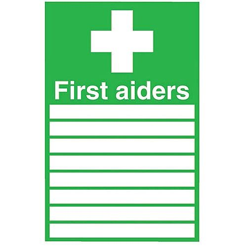 First Aiders Safety Sign 300x200mm PVC